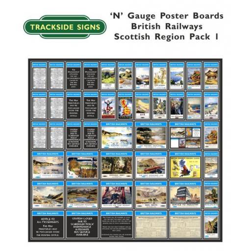 Die Cut British Railways Scottish Region Poster Boards - N Gauge