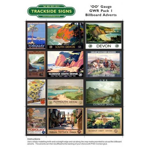 GWR Billboard Sheets Pack 1 - 'OO' Gauge