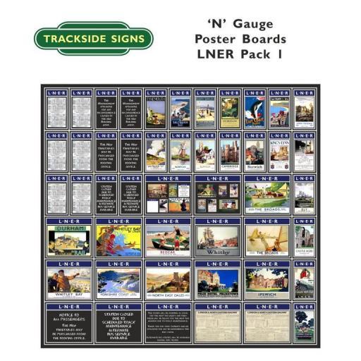Die Cut Self Adhesive LNER (Blue) Poster Boards Pack 1 - N Gauge