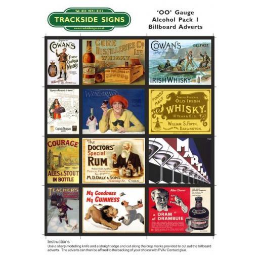 Alcohol Billboard Sheets Pack 1 - 'OO' Gauge