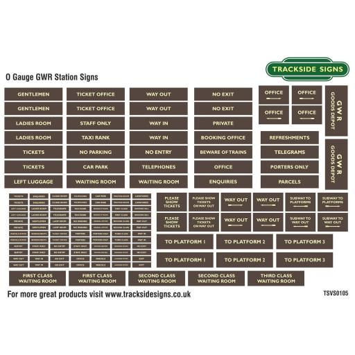 GWR Brown and Cream - General Station Signs Only - O Gauge