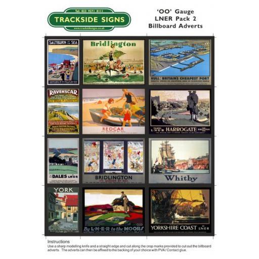 LNER Billboard Sheets Pack 2 - OO Gauge