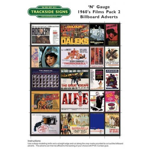 1960's Films - Billboard Sheets - Pack 2 - 'N' Gauge