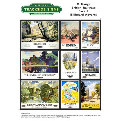 British Railways Billboard Sheet- Pack 1 - O Gauge