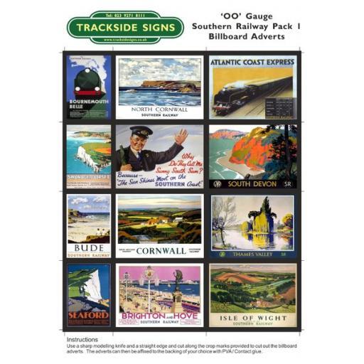 Southern Railway Billboard Sheets Pack 1 - OO Gauge