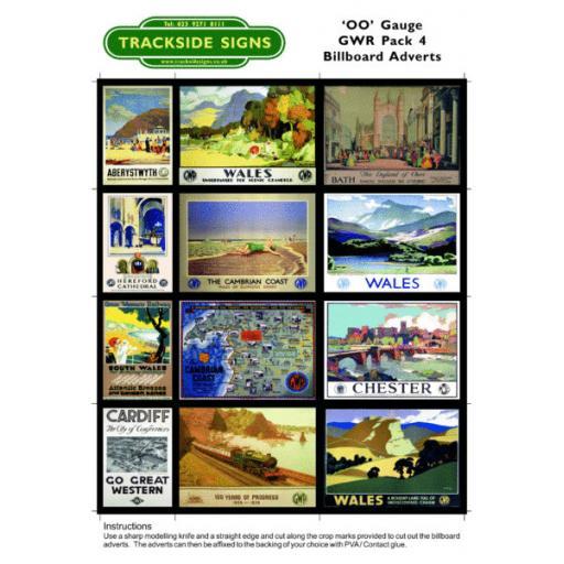 GWR Billboard Sheets Pack 4 - 'OO' Gauge