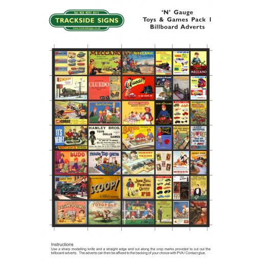 Toys & Games - Billboard Sheets - Pack 1 - 'N' Gauge