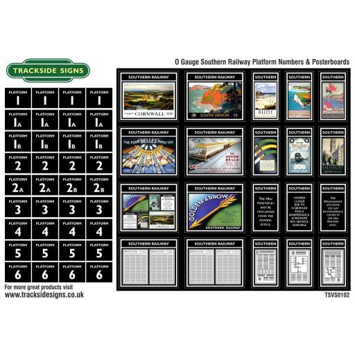 Southern Railway - Platform Numbers and Posterboards - Black - O Gauge