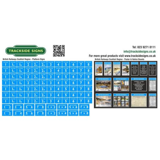 British Railways Scottish Region Platform Numbers and Posterboards - OO Gauge