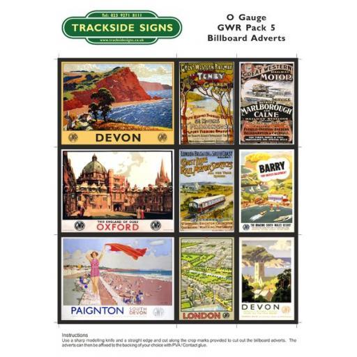 GWR Billboard Sheet- Pack 5 - O Gauge