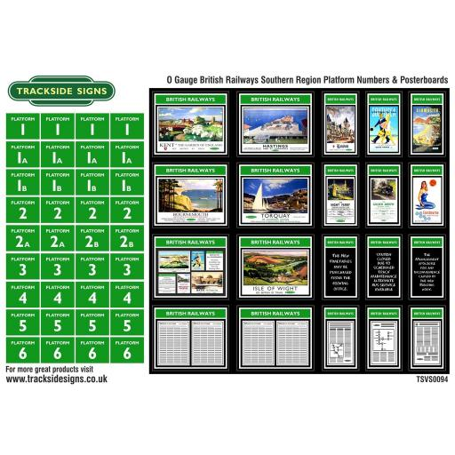 British Railways Southern Region Platform Numbers and Posterboards - O Gauge
