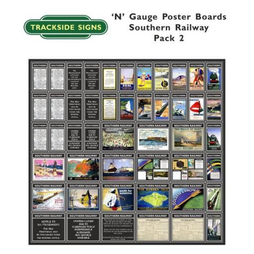 Die Cut Southern Railway Poster Boards (Black) Pack 2 - N Gauge
