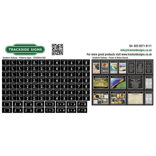 Southern Railway - Platform Numbers and Posterboards - Black - OO Gauge