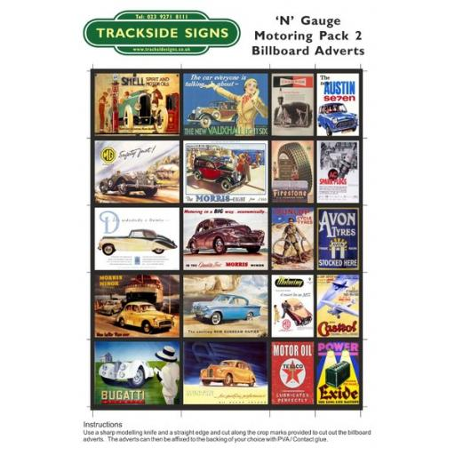 Motoring - Billboard Sheets - Pack 2 - N Gauge