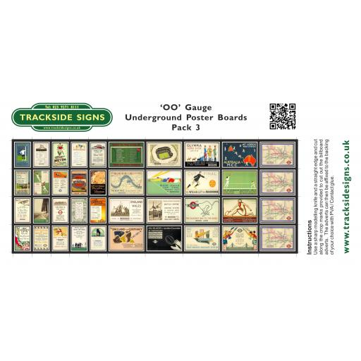 Underground - Poster Board Sheets Pack 3 - OO Gauge