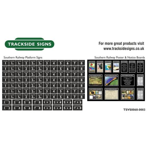 Southern Railway - Platform Numbers and Posterboards - Black - N Gauge