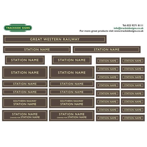 GWR - Full Station Sign Set - O Gauge - 2 Colour Options available