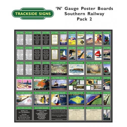 Die Cut Southern Railway Poster Boards (Green) Pack 2 - N Gauge