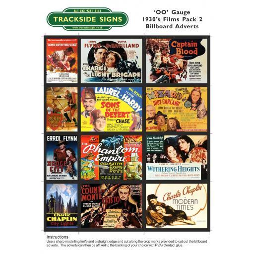 1930's Films Billboard Sheets Pack 2 - OO Gauge