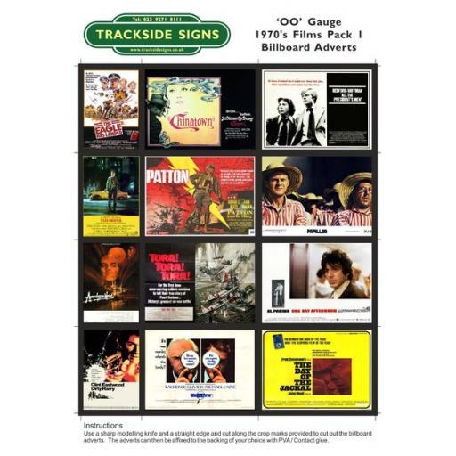 1970's Films Billboard Sheets Pack 1 - OO Gauge