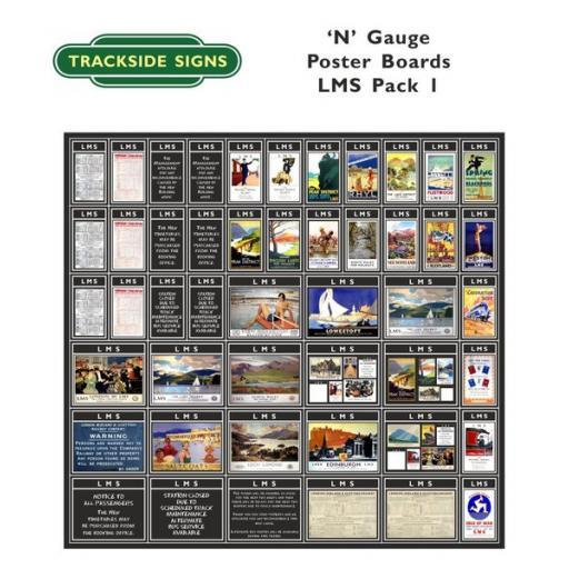 Die Cut LMS Poster Boards (Black) Pack 1 - N Gauge