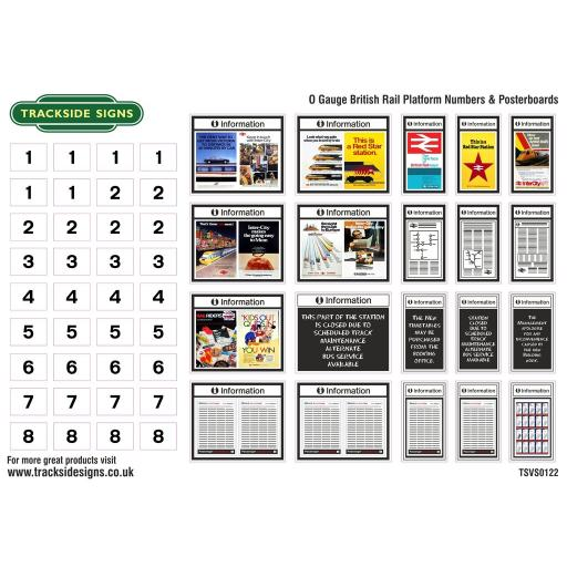 British Rail Platform Numbers and Posterboards - O Gauge