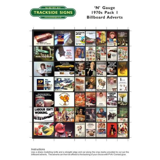 1970's Adverts - Billboard Sheet Pack 1 - N Gauge