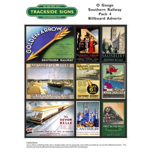 SR Billboard Sheet - Pack 4 - O Gauge