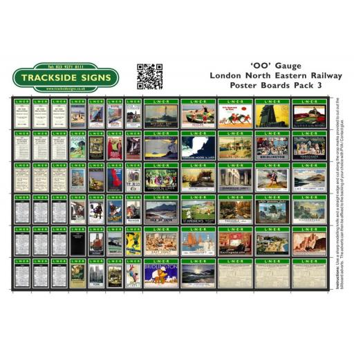 LNER - Poster Board Sheets Pack 3 - OO Gauge
