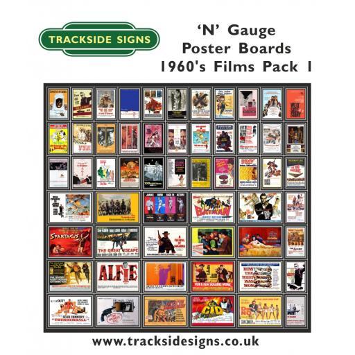 Die Cut 1960's Films Poster Boards - N Gauge