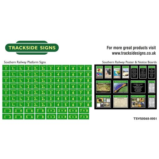 Southern Railway - Platform Numbers and Posterboards - Green and Cream - N Gauge