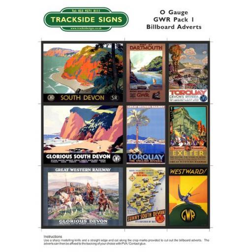 GWR Billboard Sheet- Pack 1 - O Gauge