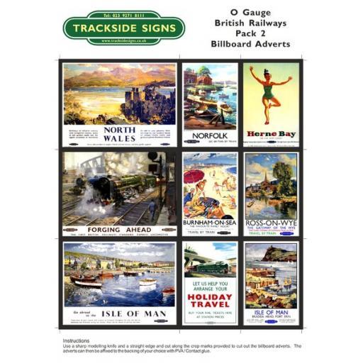 British Railways Billboard Sheet- Pack 2 - O Gauge