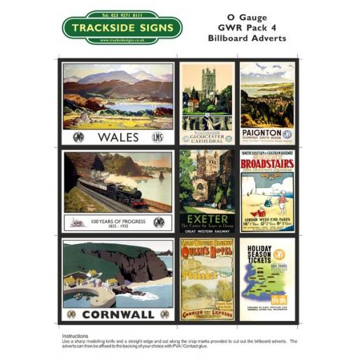 GWR Billboard Sheet- Pack 4 - O Gauge