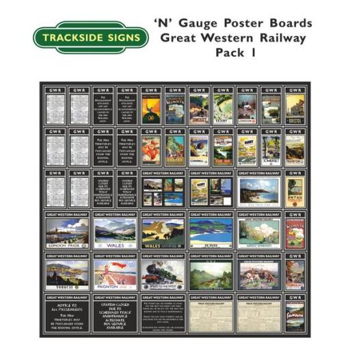Die Cut GWR Poster Boards (Black) Pack 1 - N Gauge
