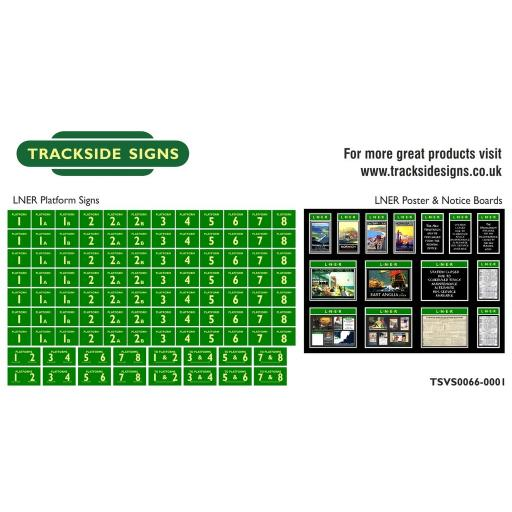 LNER - Platform Numbers and Posterboards - Green and Cream - N Gauge