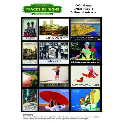 LNER Billboard Sheets Pack 8 - 'OO' Gauge