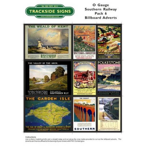 SR Billboard Sheet - Pack 6 - O Gauge