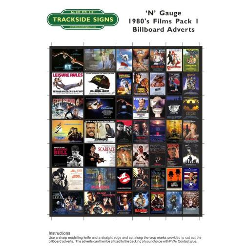 1980's Films - Billboard Sheets - Pack 1 - 'N' Gauge