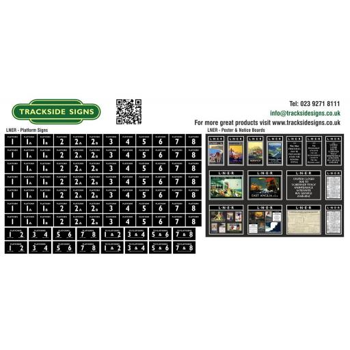 LNER - Platform Numbers and Posterboards - Black - OO Gauge