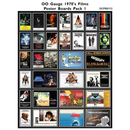 Die Cut 1970's Films Poster Boards Pack 1 - OO Gauge