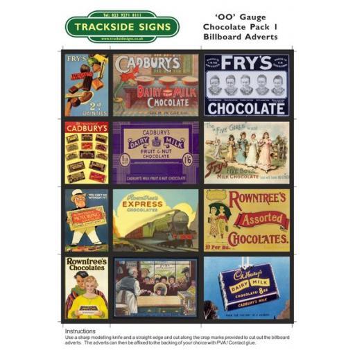 Chocolate Billboard Sheets Pack 1 - 'OO' Gauge