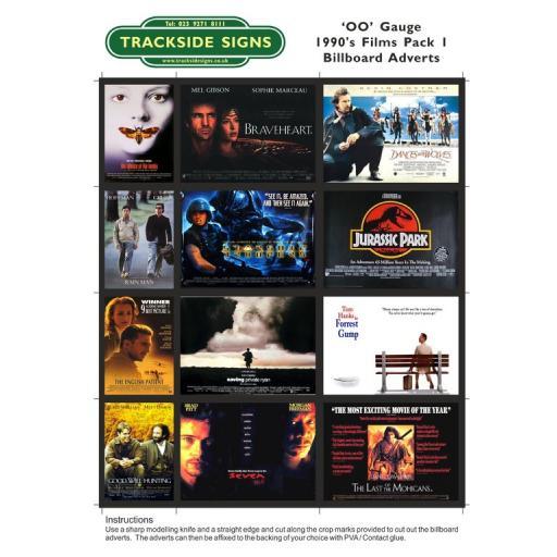 1990's Films Billboard Sheets Pack 1 - OO Gauge