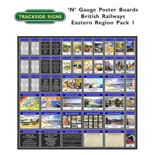 Die Cut British Railways Eastern Region Poster Boards - N Gauge