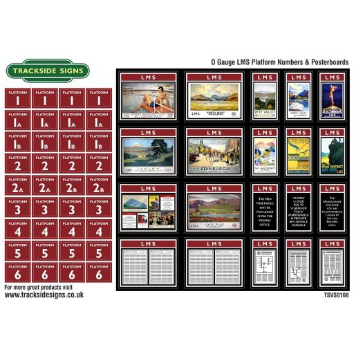 LMS Platform Numbers and Posterboards - Maroon - O Gauge