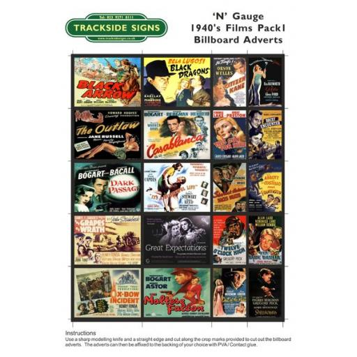 1940's Films - Billboard Sheets - Pack 1 - N Gauge