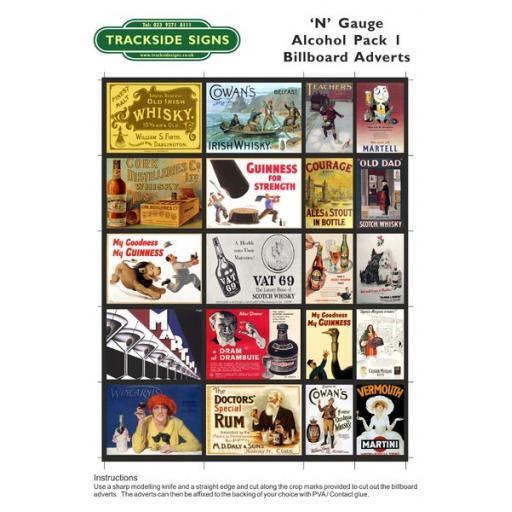 Alcohol - Billboard Sheets - N Gauge
