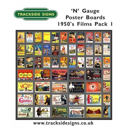 Die Cut 1950's Films Poster Boards - N Gauge