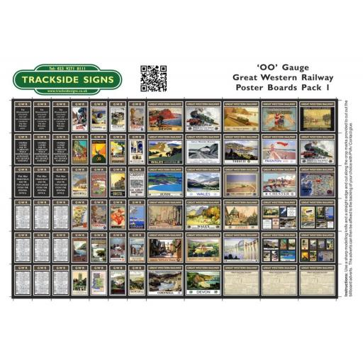 GWR - Poster Board Sheets Pack 1 - OO Gauge