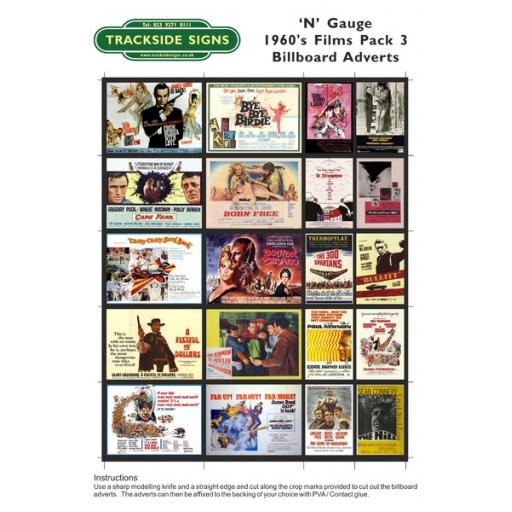 1960's Films - Billboard Sheets - Pack 3 - 'N' Gauge
